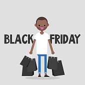 Black Friday sale. Young character holding a bunch of black shopping bags. Special offer. Big sale event. Flat editable vector illustration, clip art