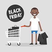 Black Friday sale. Young character holding a bunch of black shopping bags. Special offer. Shopping cart. Big sale event. Flat editable vector illustration, clip art