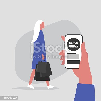 istock Black Friday sale, young female character ordering purchases from online store 1187047027