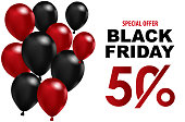 Black Friday sales background. balloons with on a White background. Creative Concept Banner Design Black Friday celebration. copy space text area. Suitable in use for template design, brochure, banner