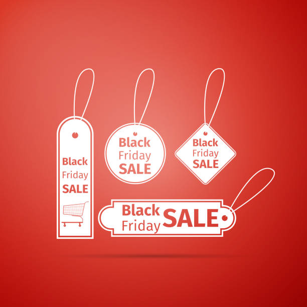 ilustrações, clipart, desenhos animados e ícones de ícone de marca vendas sexta-feira preto isolado sobre fundo vermelho. projeto liso. ilustração vetorial - tag