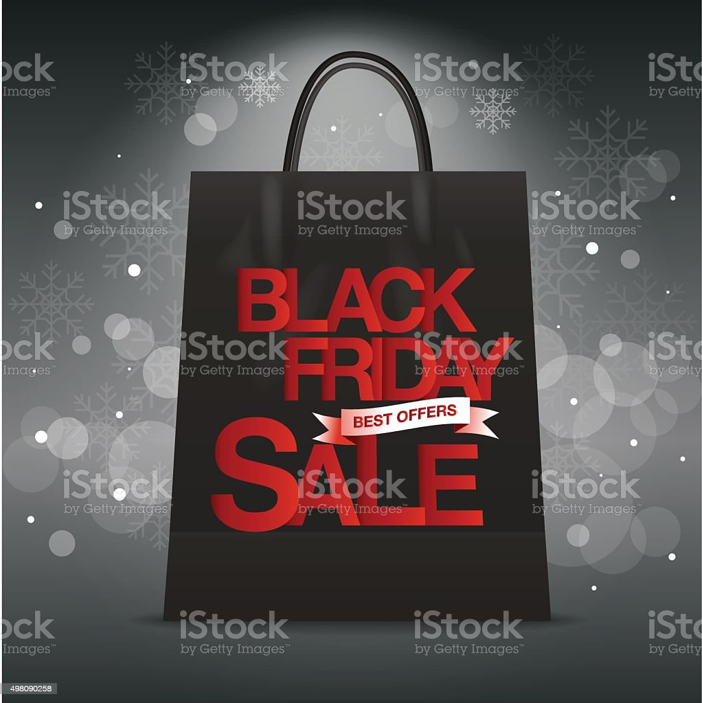 Black Friday sales tag , shopping vector art illustration