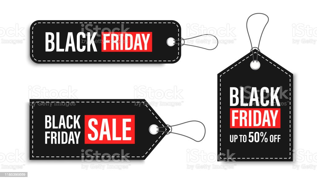 Black Friday sales tags and labels, template shopping labels. Blank, discount and price tags on paper. Special offer. Black Friday. Vintage. Big set. Vector illustration. - Royalty-free Abstrato arte vetorial