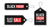 Black Friday sales tags and labels, template shopping labels. Blank, discount and price tags on paper. Special offer. Black Friday. Vintage. Big set. Vector illustration