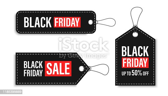istock Black Friday sales tags and labels, template shopping labels. Blank, discount and price tags on paper. Special offer. Black Friday. Vintage. Big set. Vector illustration. 1185395669