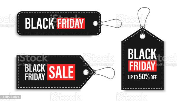 Black Friday Sales Tags And Labels Template Shopping Labels Blank Discount And Price Tags On Paper Special Offer Black Friday Vintage Big Set Vector Illustration - Arte vetorial de stock e mais imagens de Abstrato