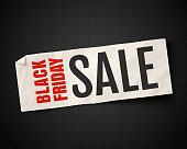 Vintage banner for black friday sale on white old paper. Black friday season sale.