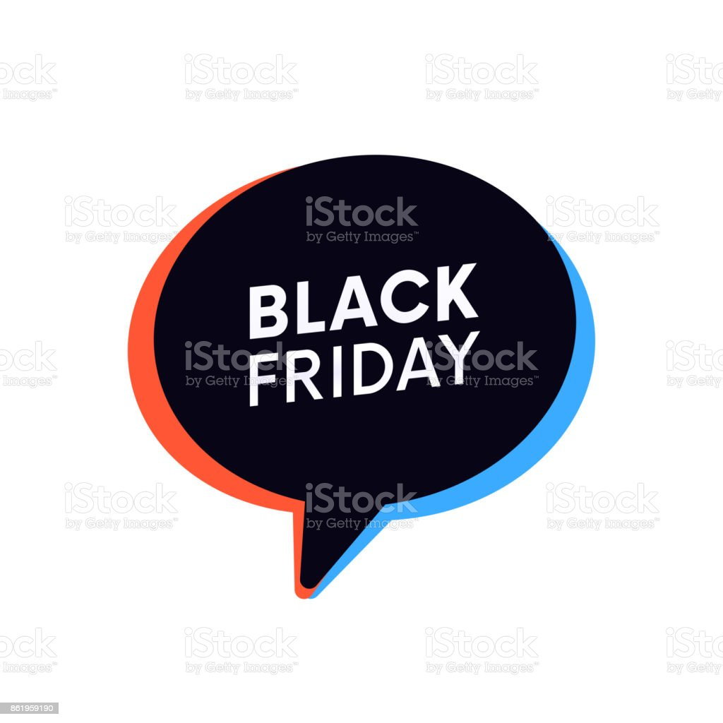 Black Friday shopping banner trendy retro bubble. vector art illustration