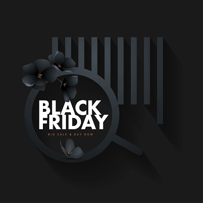 Black Friday shopping concept. Black Friday sticker with real bar code and flowers. Sale label concept. Illustration, Black flowers, floral, Vector.