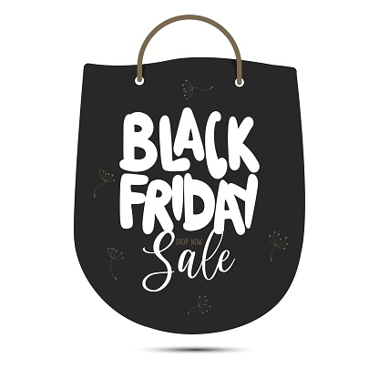 Black Friday shopping concept. Black paper, bag icon, banner, template, isolated on black background. Vector illustration. Flower, red, gift, sale, fashion, shop, icon.