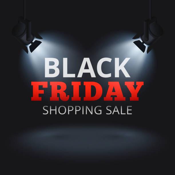 black friday shopping verkauf vektor hintergrund mit strahlern auf der bühne und beleuchtete text - lampenshop stock-grafiken, -clipart, -cartoons und -symbole