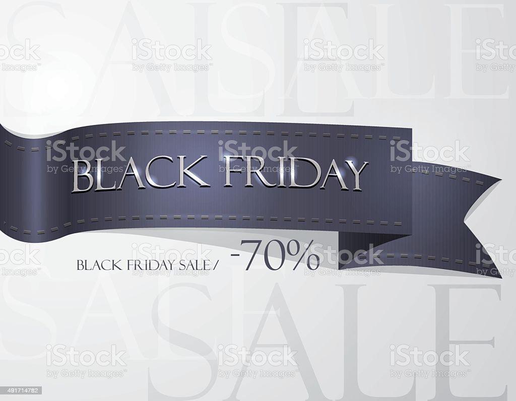 Black Friday shopping sale wallpaper sign with black silk ribbon vector art illustration
