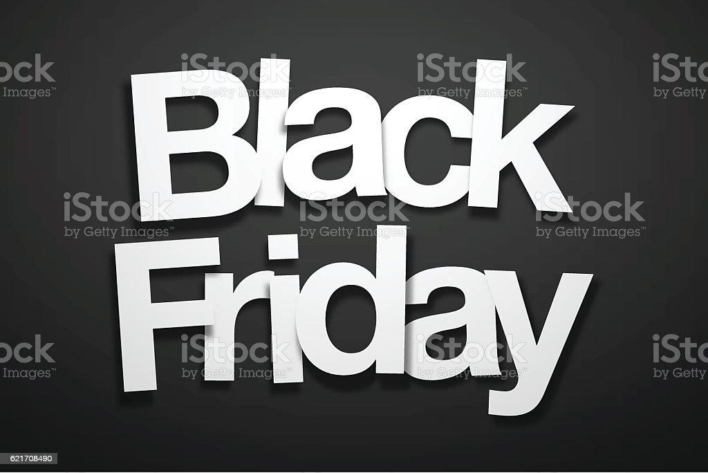Black Friday Sign with Black Background - Paper Font - ilustração de arte em vetor