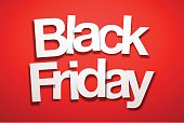 Black Friday sign with Red Background. The letters of the text are white and have an paper effect, they are disordered and overlap between them.
