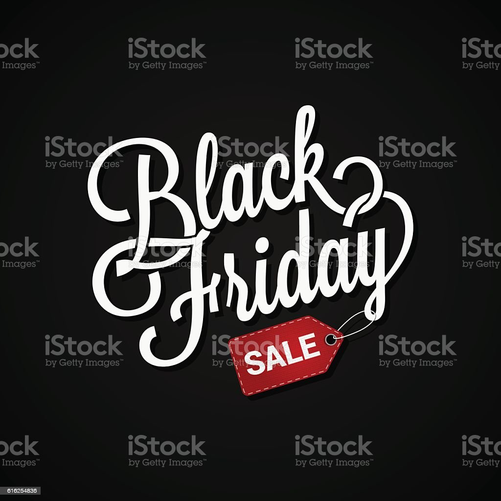 Black Friday sign with sale tag on dark background vector art illustration
