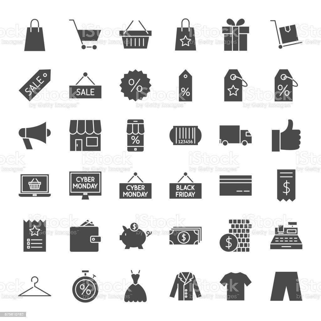 Vendredi noir solide Web Icons - Illustration vectorielle