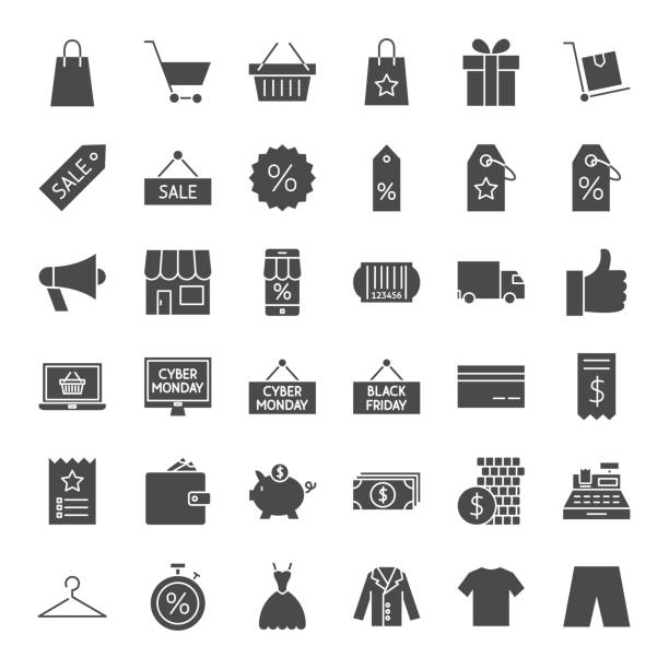 black friday solid web icons - handel detaliczny stock illustrations