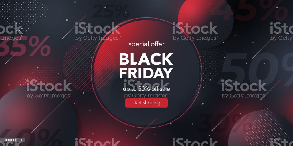 Black friday special offer. Social media web banner for shopping, sale, product promotion. Background for website and mobile app banner, email. Vector illustration in black and red colors. Abstract stock vector