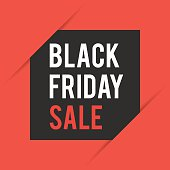Black Friday. Sale Concept of Discount background with black square card on red cut background. Vector illustration for web design banner, poster or print card