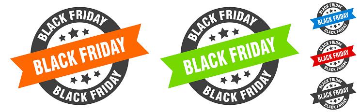 black friday stamp. black friday round ribbon sticker. tag