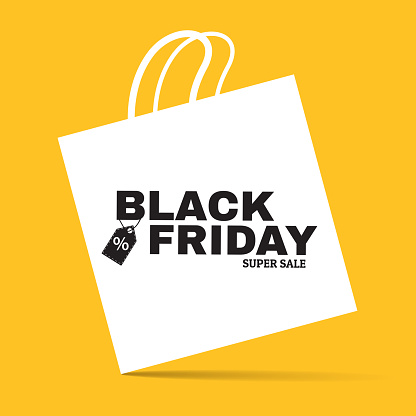Black friday super sale creative announcement banner. White flat shopping bag sign on yellow background. Concept with minimalistic design. Applicable for flyer, promo poster. Vector eps 10