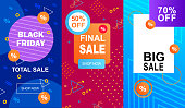 Flat Banner Set Black Friday Total Sale. Big Sale 70 Percent. Final Sale 50 Percent Off. Vector Illustration on Color Graphic Ornament Background. Coupons and Vouchers for Trade in Stores.