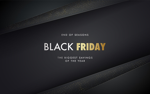 Black Friday vector banner. Black paper layers with golden halftone effect. Minimalistic Sale poster. Advertising horizontal banner.