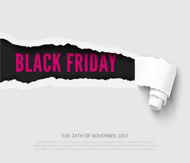 Black friday vector banner Black friday vector template with realistic paper hole with roll black friday sale background stock illustrations