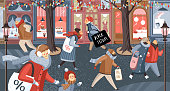 Black Friday! Vector cute illustration of people on the street in the city and families shopping at the store, at the market for sales. Drawing for banner, background or poster.