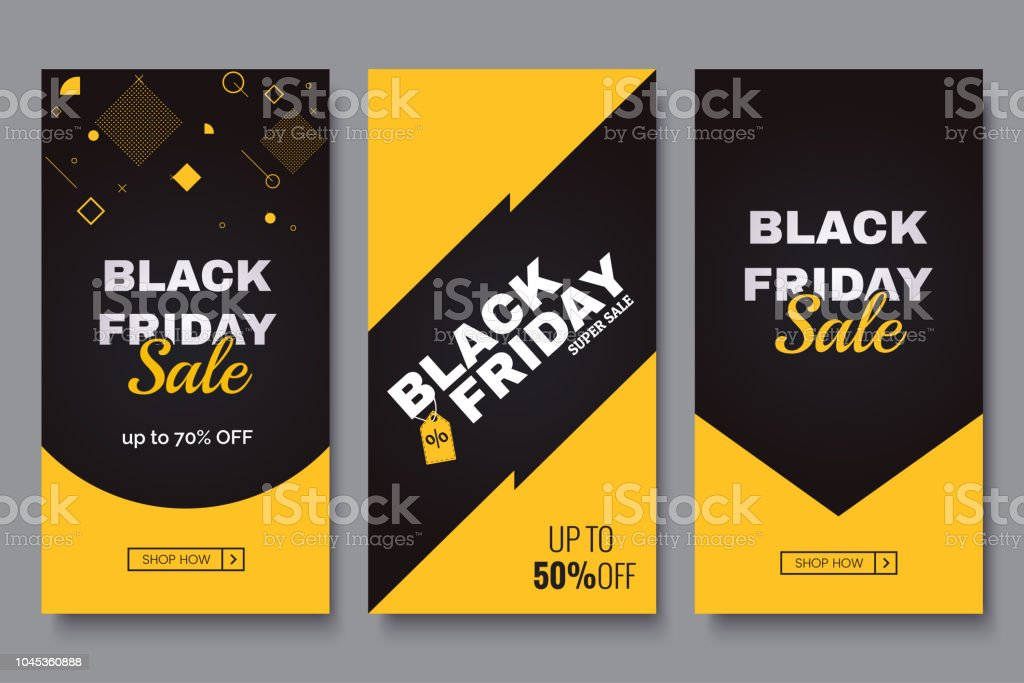 Black friday vertical promotion banner set. Sale banners design template. Yellow and black geometric background. Minimalistic discount flyers. Vector eps 10 - Royalty-free Amarelo arte vetorial