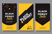 Black friday vertical promotion banner set. Sale banners design template. Yellow and dark geometric background. Minimalistic discount flyers. Vector eps 10