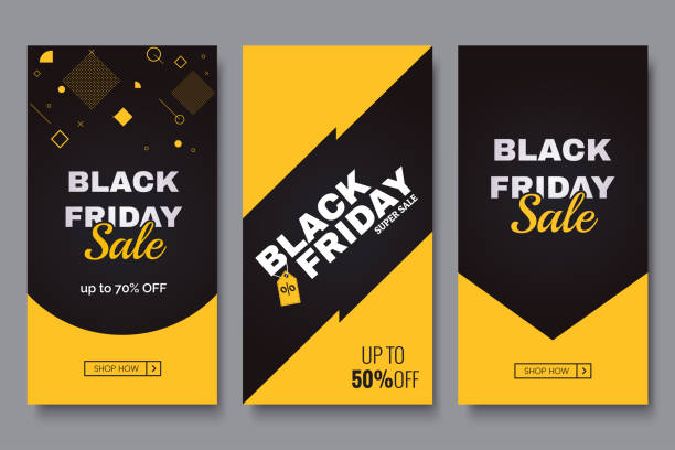 Black friday vertical promotion banner set. Sale banners design template. Yellow and black geometric background. Minimalistic discount flyers. Vector eps 10 Black friday vertical promotion banner set. Sale banners design template. Yellow and dark geometric background. Minimalistic discount flyers. Vector eps 10 black friday sale stock illustrations