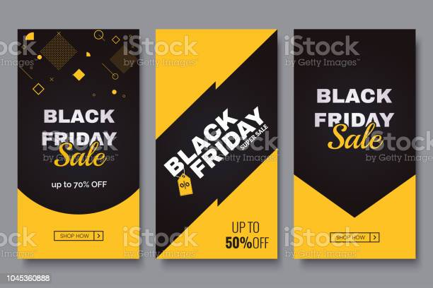 Black Friday Vertical Promotion Banner Set Sale Banners Design Template Yellow And Black Geometric Background Minimalistic Discount Flyers Vector Eps 10 Stock Illustration - Download Image Now