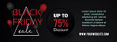 Black friday web banner template vector illustration with frame and balloons.
