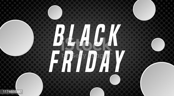 istock Black Friday web banner with  white box for text.  Vettoriale. 1174655387