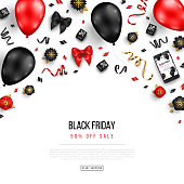 Black Friday Sale Poster with Balloons, Flowers and Confetti on White Background. Vector illustration.