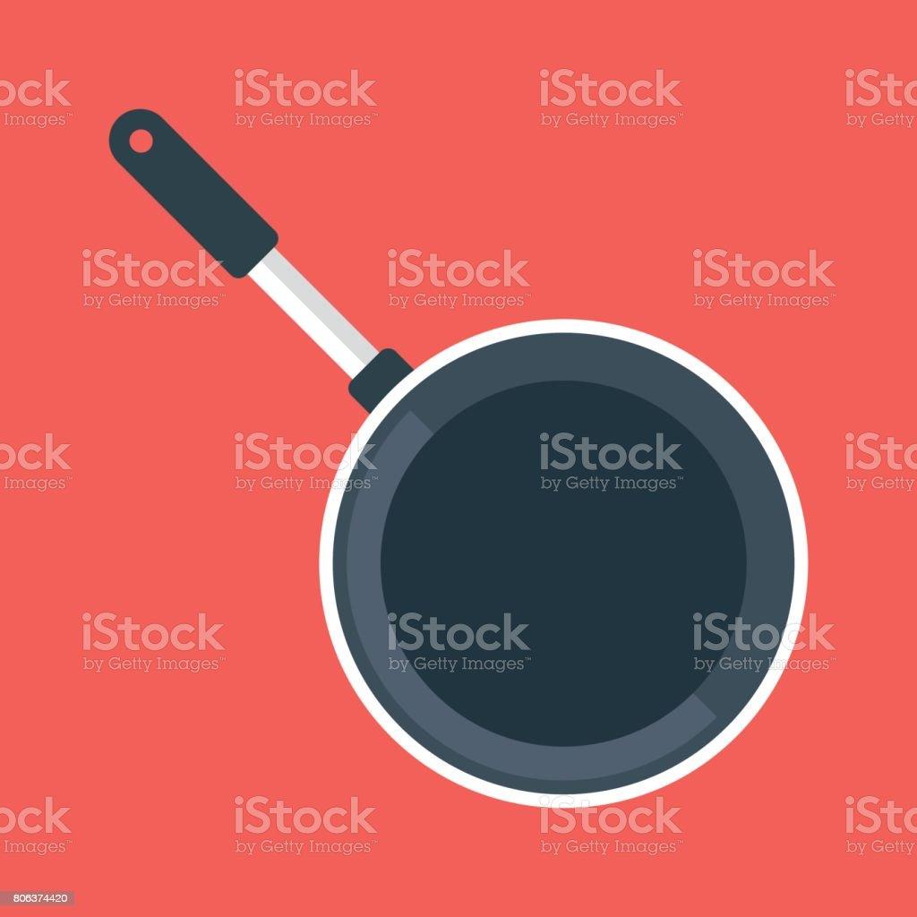 Black frying pan, empty black frypan, skillet. Top view. Vector illustration vector art illustration
