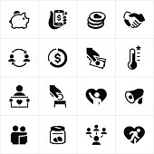 Black Fundraiser And Crowdfunding Icons