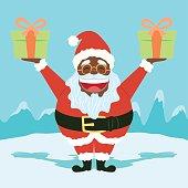 Black Funny Santa Claus Holding Presents