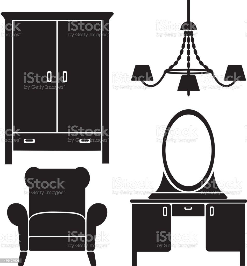 Icones De Meubles Noirs Ensemble De Chambre A Coucher Vector