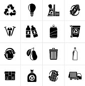 Black Garbage and Recycling Icons