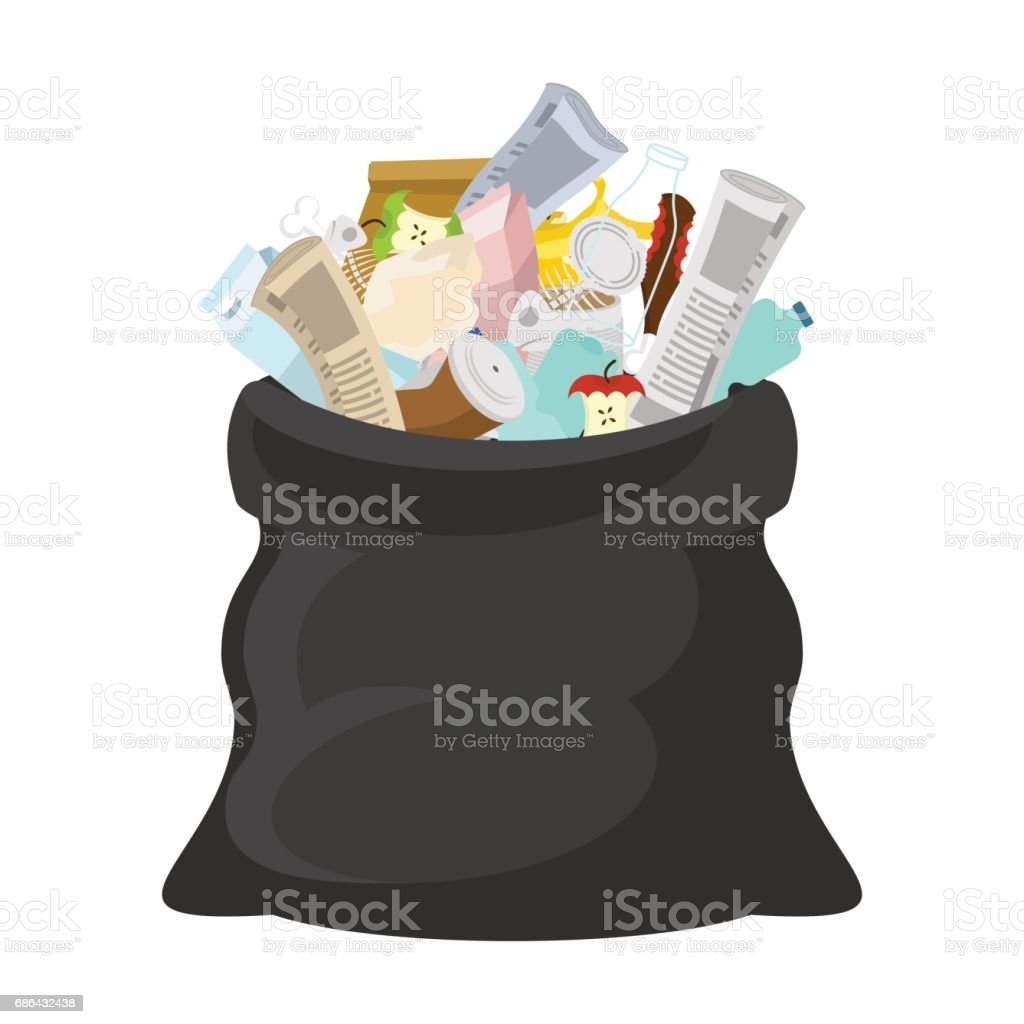 Black garbage bag open. sack Rubbish. sackful trash. litter. peel from banana and stub. Tin and old newspaper. Bone and packaging. Crumpled paper and plastic bottle vector art illustration