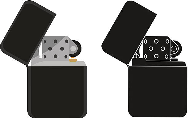 black benzin leichter. farbe, silhouette - feuerzeuggas stock-grafiken, -clipart, -cartoons und -symbole