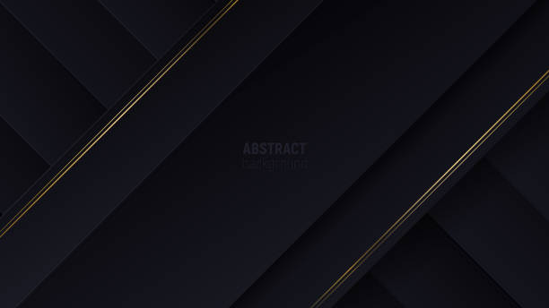 black geometric background with papercut layers and golden glittering lines. modern minimalistic abstract banner. vector illustration in flat style. - чёрный цвет stock illustrations