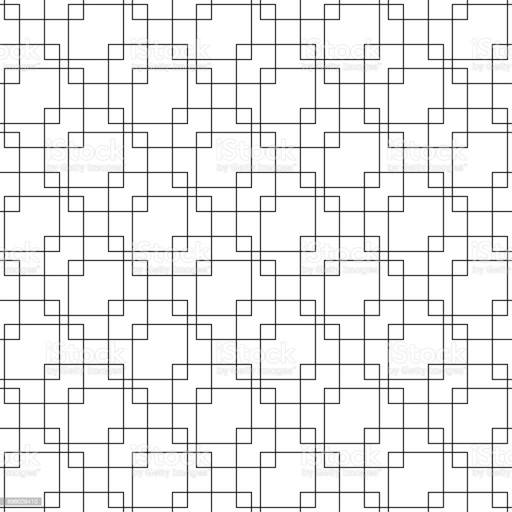 Black geometric seamless pattern on white background - arte vettoriale royalty-free di Astratto