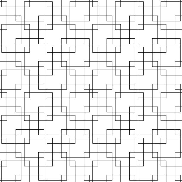 Bекторная иллюстрация Black geometric seamless pattern on white background