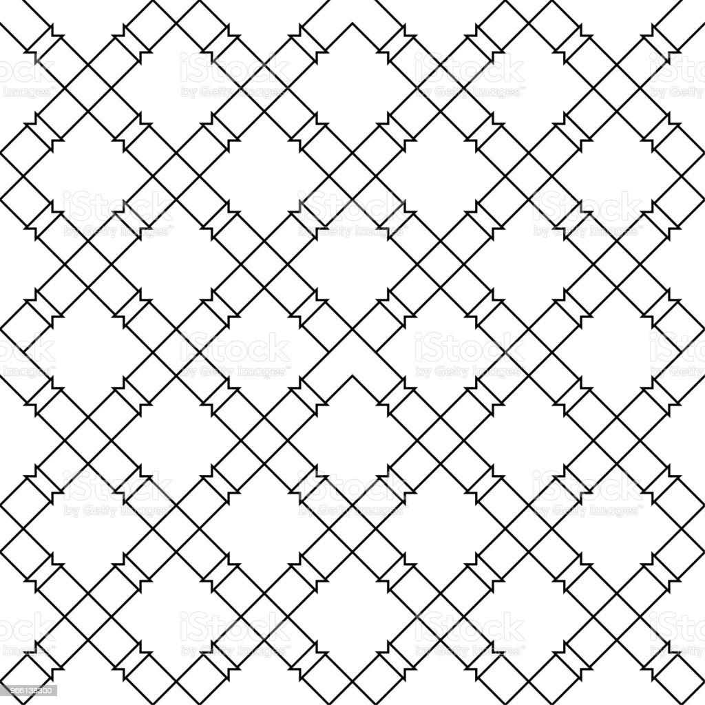 Schwarze geometrische nahtlose Muster auf weißem Hintergrund - Lizenzfrei Abstrakt Vektorgrafik