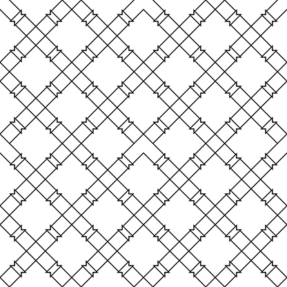 Black Geometric Seamless Pattern On White Background Stock Illustration - Download Image Now