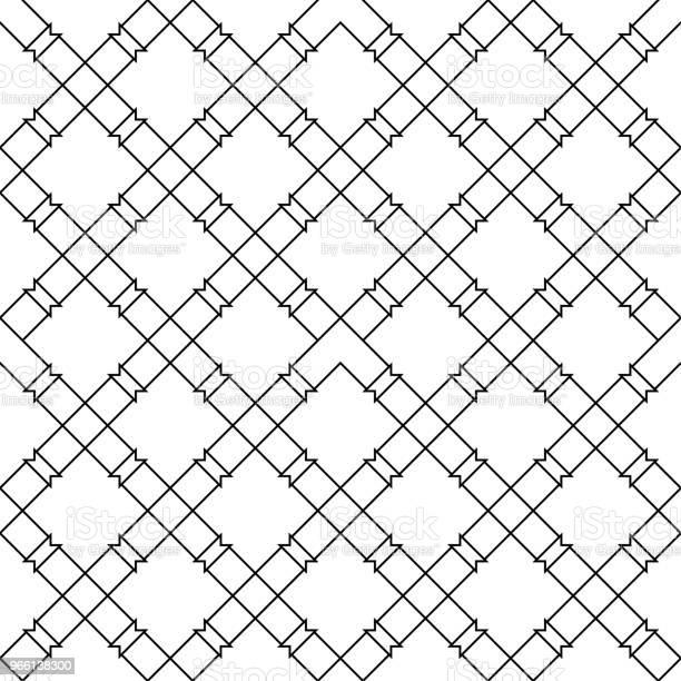 Svart Geometriska Sömlösa Mönster På Vit Bakgrund-vektorgrafik och fler bilder på Abstrakt