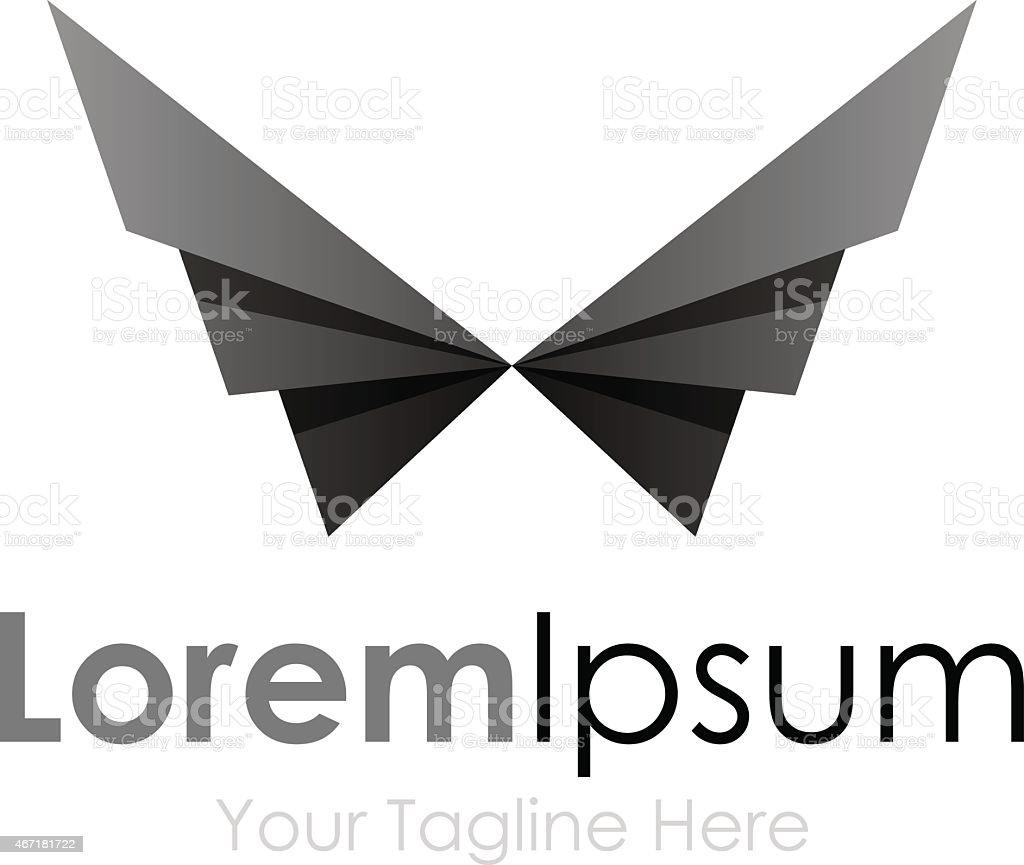 Black geometric wings bird element icons business logo vector art illustration